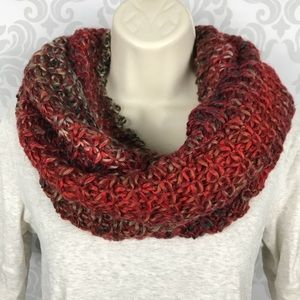 NEW Red Knit Infinity Loop Scarf Fall Colors